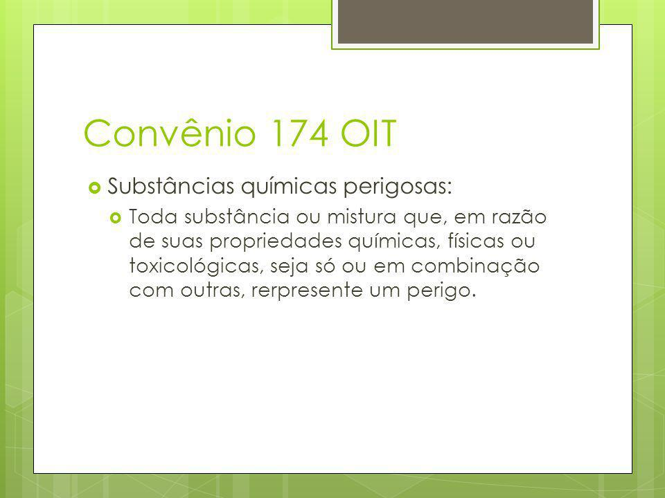 Convênio 174 OIT Substâncias químicas perigosas: Toda substância ou mistura que, em razão de suas propriedades químicas, físicas ou toxicológicas, seja só ou em combinação com outras, rerpresente um perigo.