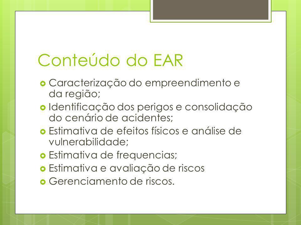 Conteúdo do EAR Caracterização do empreendimento e da região; Identificação dos perigos e consolidação do cenário de acidentes; Estimativa de efeitos físicos e análise de vulnerabilidade; Estimativa de frequencias; Estimativa e avaliação de riscos Gerenciamento de riscos.