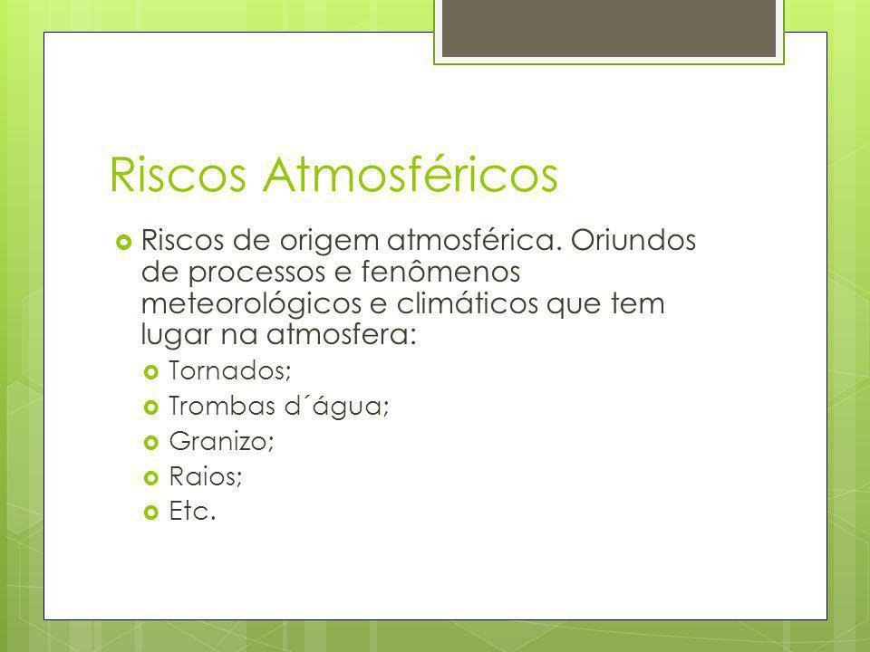 Riscos Atmosféricos Riscos de origem atmosférica. Oriundos de processos e fenômenos meteorológicos e climáticos que tem lugar na atmosfera: Tornados;