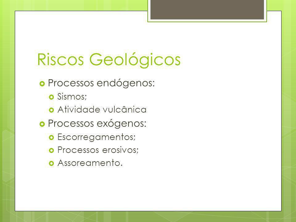 Riscos Geológicos Processos endógenos: Sismos; Atividade vulcânica Processos exógenos: Escorregamentos; Processos erosivos; Assoreamento.
