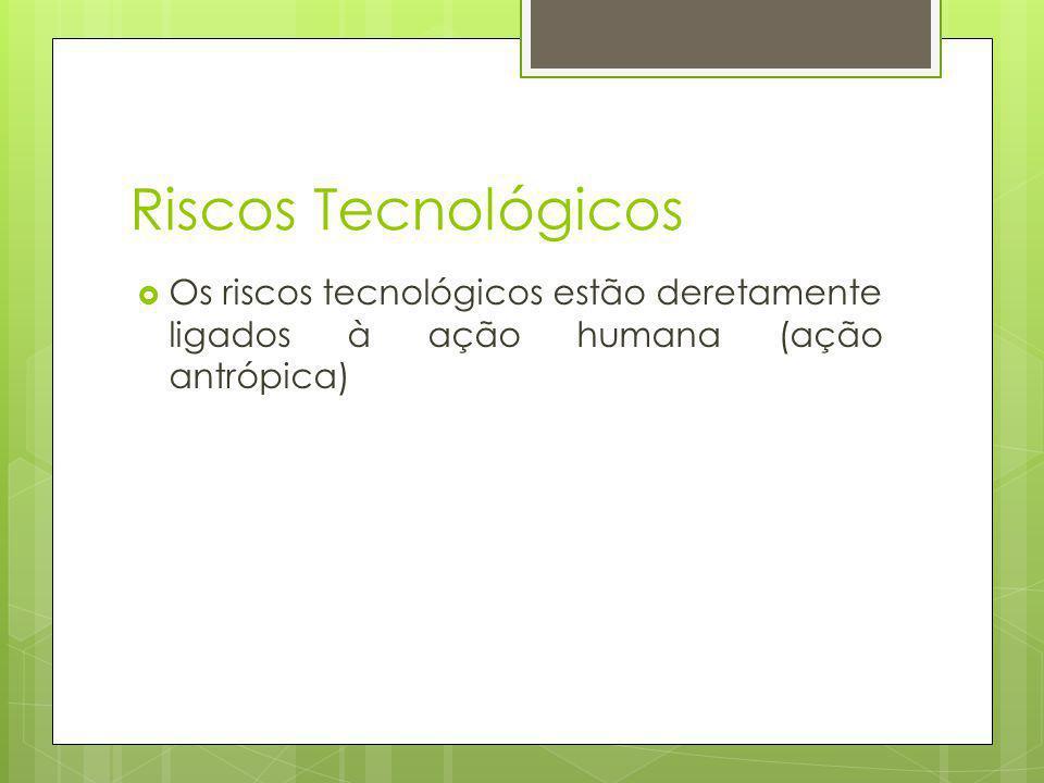 Tipificação Riscos de acidentes tecnológicos: Explosões, vazamentos, etc.