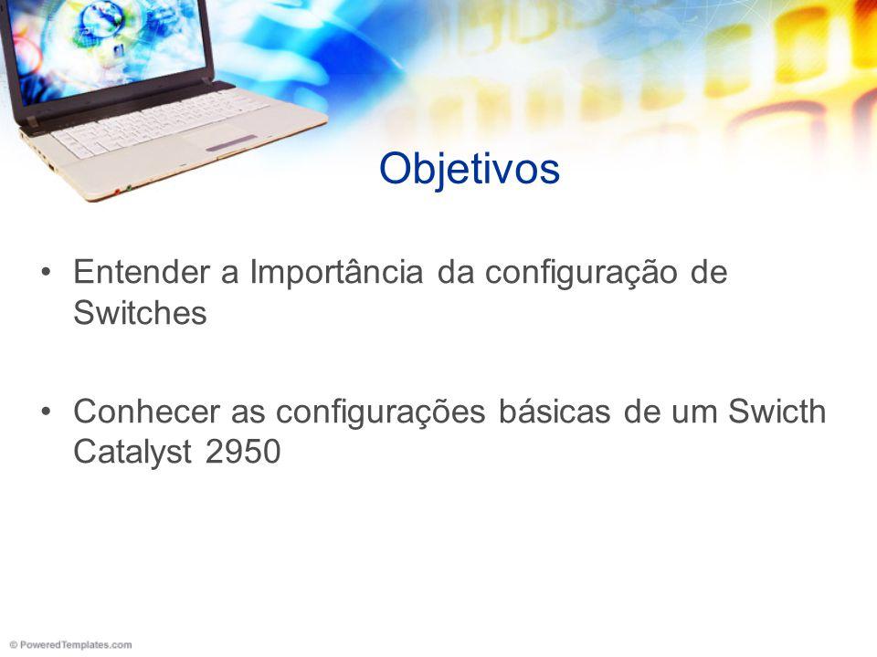 Objetivos Entender a Importância da configuração de Switches Conhecer as configurações básicas de um Swicth Catalyst 2950