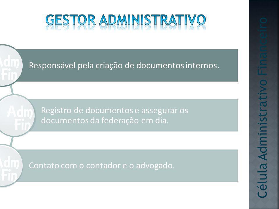 Responsável pela criação de documentos internos. Registro de documentos e assegurar os documentos da federação em dia. Contato com o contador e o advo