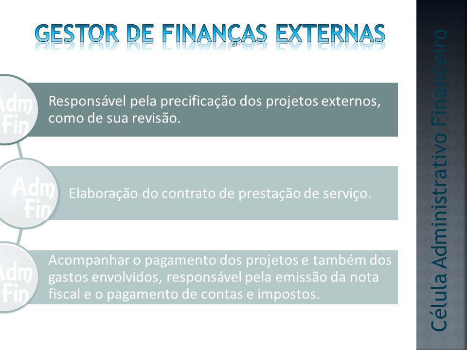 Responsável pela precificação dos projetos externos, como de sua revisão. Elaboração do contrato de prestação de serviço. Acompanhar o pagamento dos p