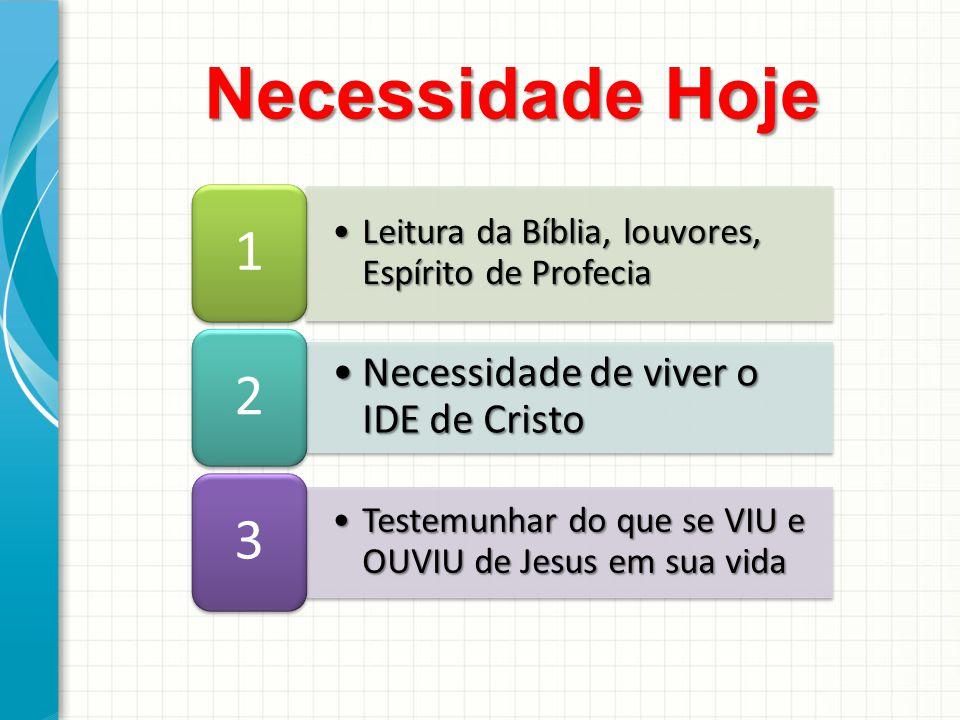 Leitura da Bíblia, louvores, Espírito de ProfeciaLeitura da Bíblia, louvores, Espírito de Profecia 1 Necessidade de viver o IDE de CristoNecessidade d