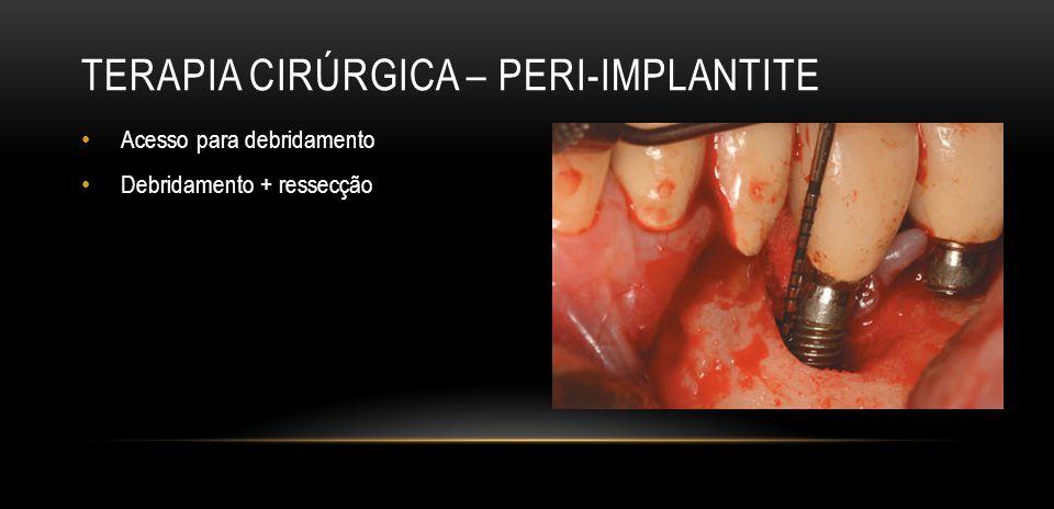 TERAPIA CIRÚRGICA – PERI-IMPLANTITE Terapia regenerativa com osso autógeno / outros materiais / membranas – (formato do defeito)