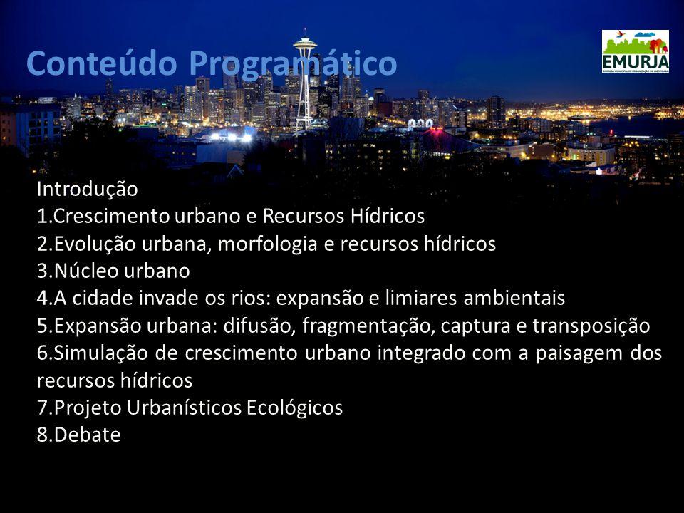 Conteúdo Programático Introdução 1.Crescimento urbano e Recursos Hídricos 2.Evolução urbana, morfologia e recursos hídricos 3.Núcleo urbano 4.A cidade