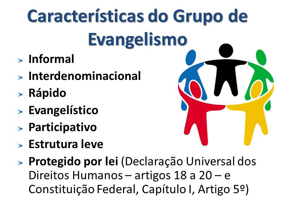 Características do Grupo de Evangelismo Informal Interdenominacional Rápido Evangelístico Participativo Estrutura leve Protegido por lei (Declaração U