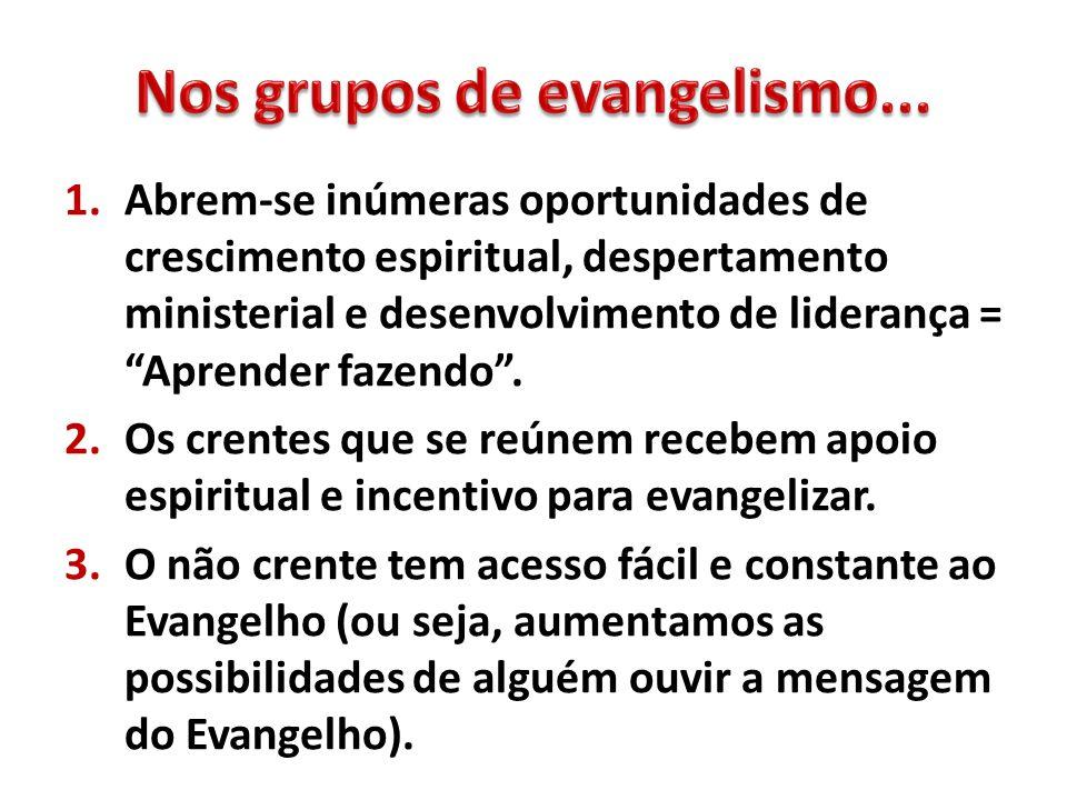 1.Abrem-se inúmeras oportunidades de crescimento espiritual, despertamento ministerial e desenvolvimento de liderança = Aprender fazendo. 2.Os crentes