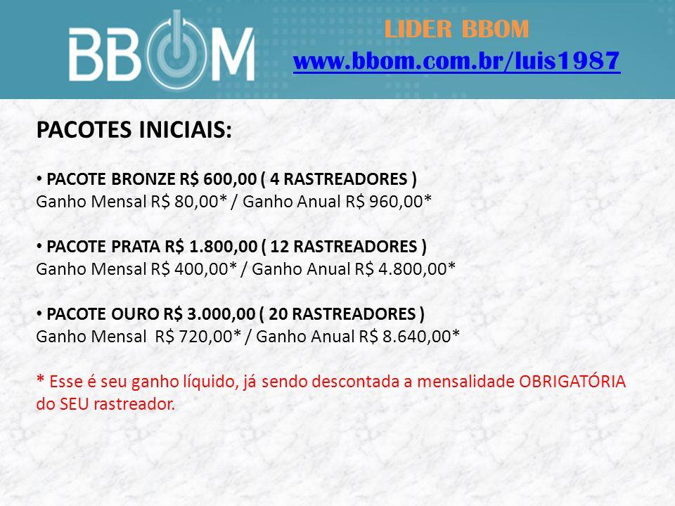 LIDER BBOM www.bbom.com.br/luis1987 PACOTES INICIAIS: PACOTE BRONZE R$ 600,00 ( 4 RASTREADORES ) Ganho Mensal R$ 80,00* / Ganho Anual R$ 960,00* PACOTE PRATA R$ 1.800,00 ( 12 RASTREADORES ) Ganho Mensal R$ 400,00* / Ganho Anual R$ 4.800,00* PACOTE OURO R$ 3.000,00 ( 20 RASTREADORES ) Ganho Mensal R$ 720,00* / Ganho Anual R$ 8.640,00* * Esse é seu ganho líquido, já sendo descontada a mensalidade OBRIGATÓRIA do SEU rastreador.