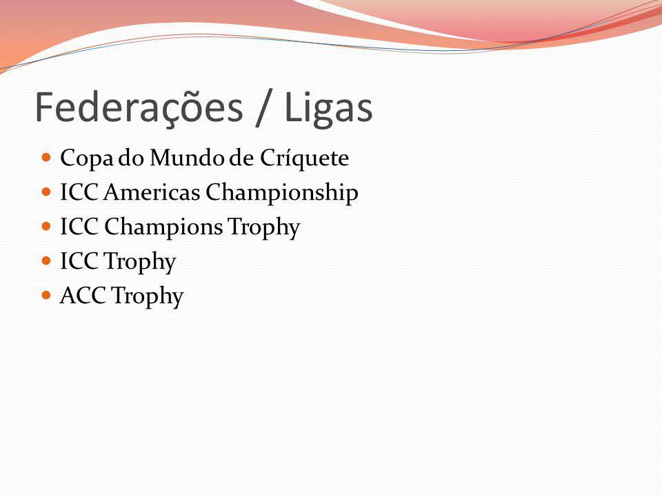 Federações / Ligas Copa do Mundo de Críquete ICC Americas Championship ICC Champions Trophy ICC Trophy ACC Trophy