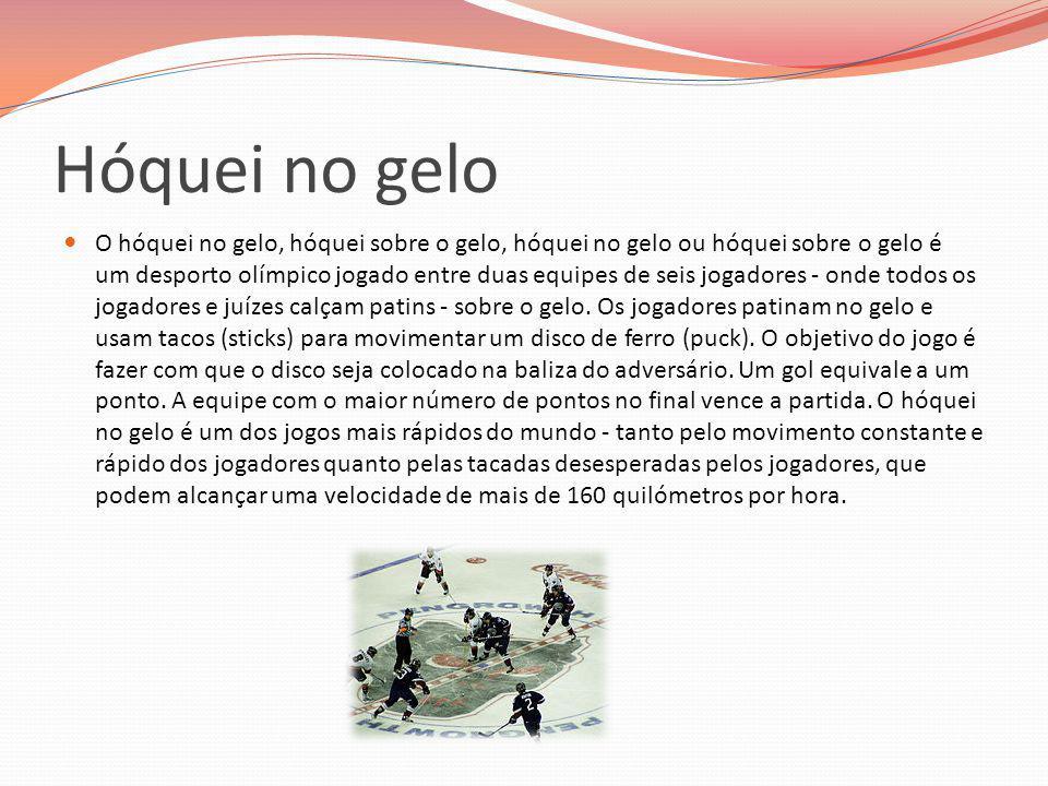Hóquei no gelo O hóquei no gelo, hóquei sobre o gelo, hóquei no gelo ou hóquei sobre o gelo é um desporto olímpico jogado entre duas equipes de seis j