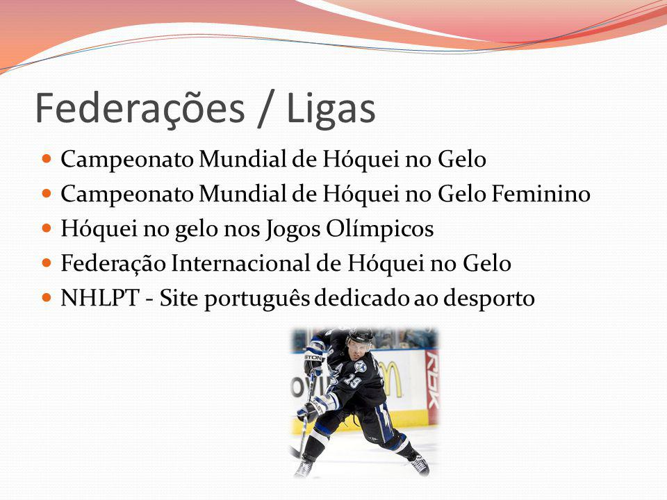 Federações / Ligas Campeonato Mundial de Hóquei no Gelo Campeonato Mundial de Hóquei no Gelo Feminino Hóquei no gelo nos Jogos Olímpicos Federação Int