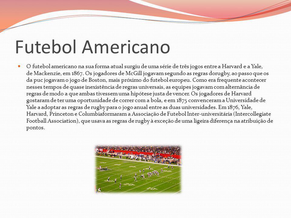 Futebol Americano O futebol americano na sua forma atual surgiu de uma série de três jogos entre a Harvard e a Yale, de Mackenzie, em 1867. Os jogador