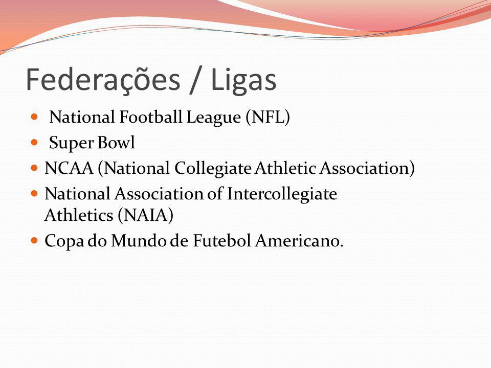 Federações / Ligas National Football League (NFL) Super Bowl NCAA (National Collegiate Athletic Association) National Association of Intercollegiate A