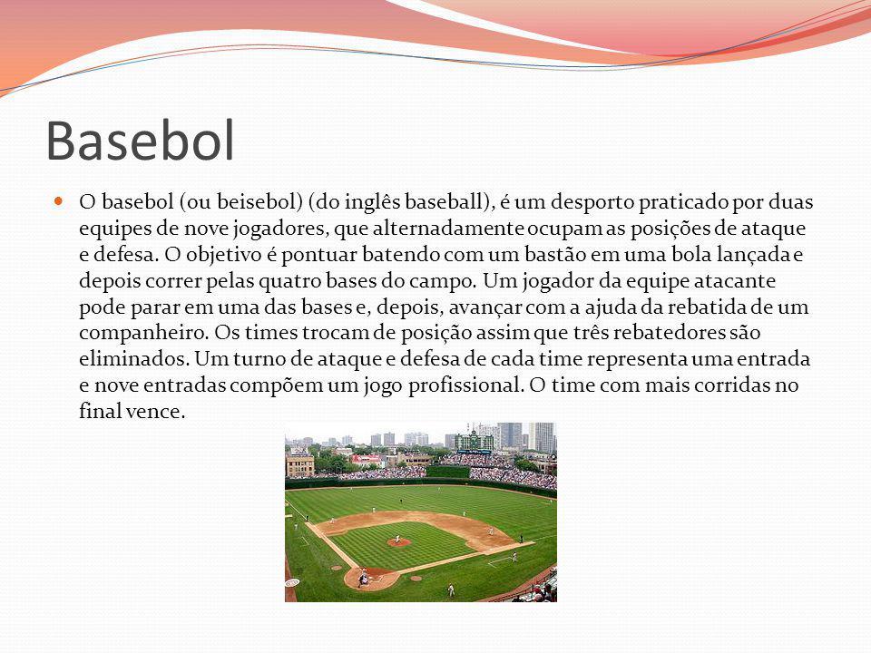 Basebol O basebol (ou beisebol) (do inglês baseball), é um desporto praticado por duas equipes de nove jogadores, que alternadamente ocupam as posiçõe