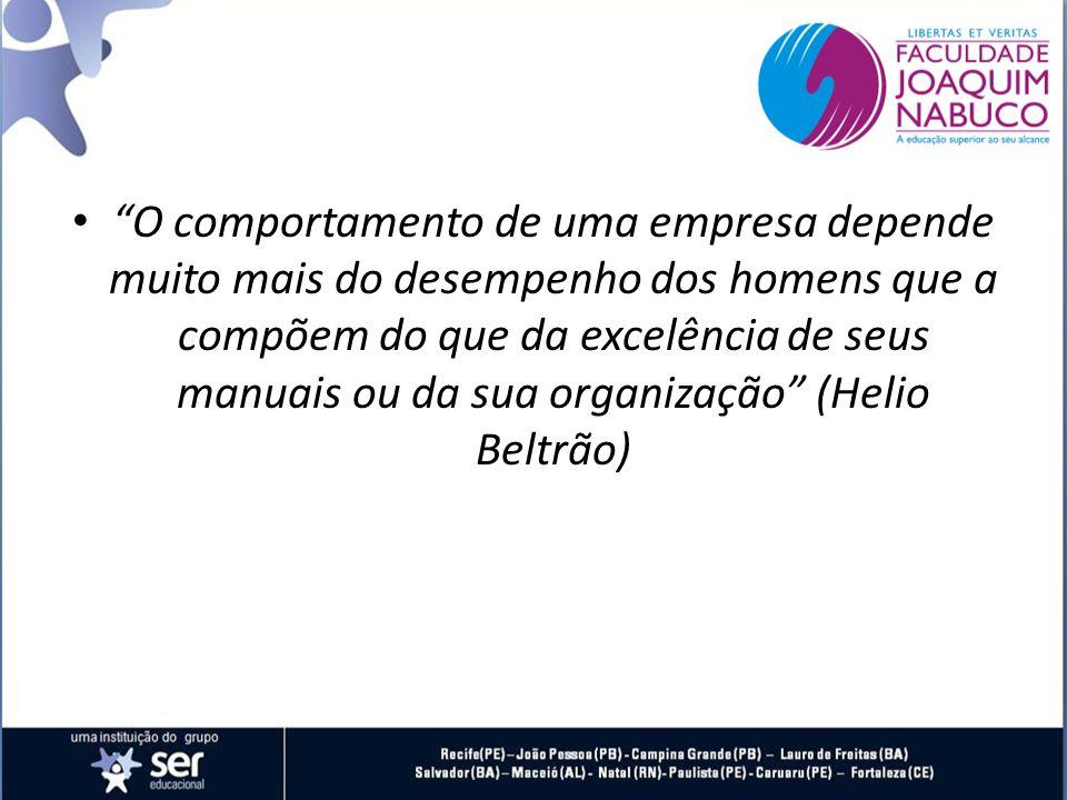 O comportamento de uma empresa depende muito mais do desempenho dos homens que a compõem do que da excelência de seus manuais ou da sua organização (Helio Beltrão)