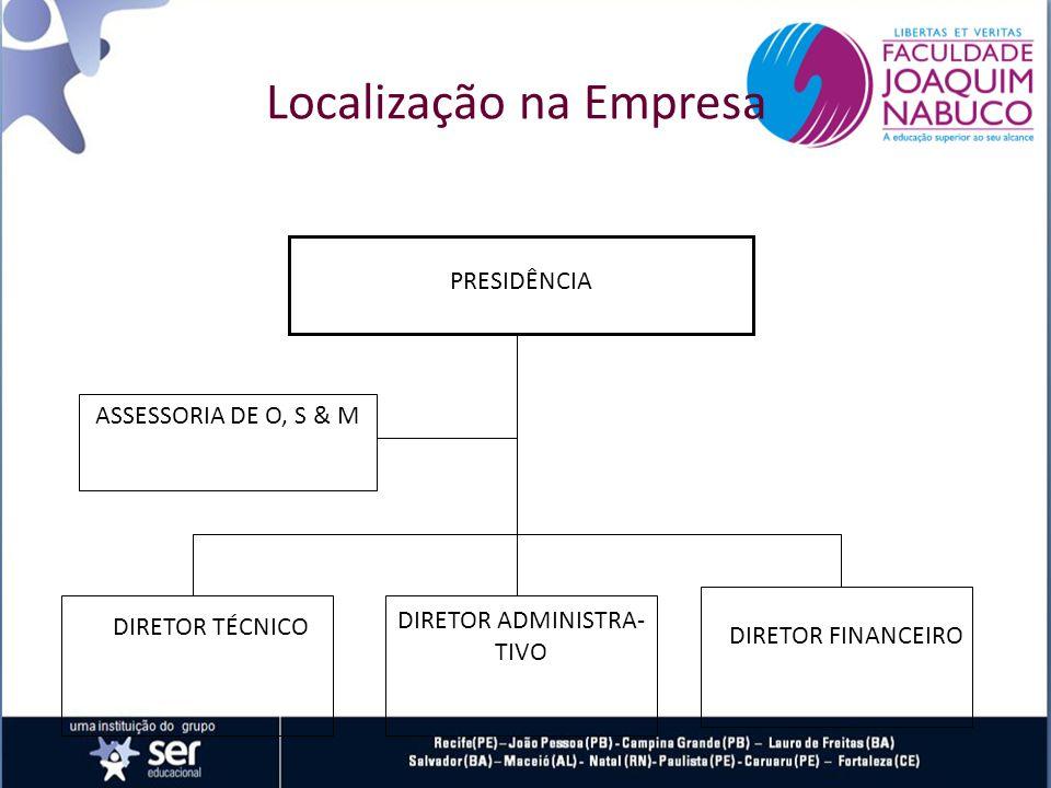 PRESIDÊNCIA DIRETOR TÉCNICO DIRETOR ADMINISTRA- TIVO DIRETOR FINANCEIRO ASSESSORIA DE O, S & M Localização na Empresa