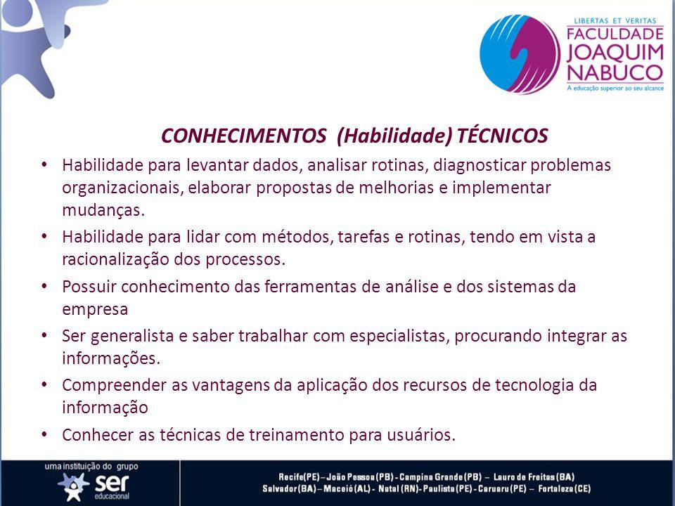 CONHECIMENTOS (Habilidade) TÉCNICOS Habilidade para levantar dados, analisar rotinas, diagnosticar problemas organizacionais, elaborar propostas de melhorias e implementar mudanças.