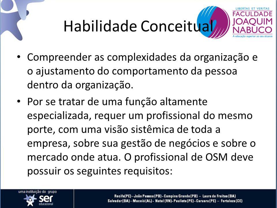 Habilidade Conceitual Compreender as complexidades da organização e o ajustamento do comportamento da pessoa dentro da organização.