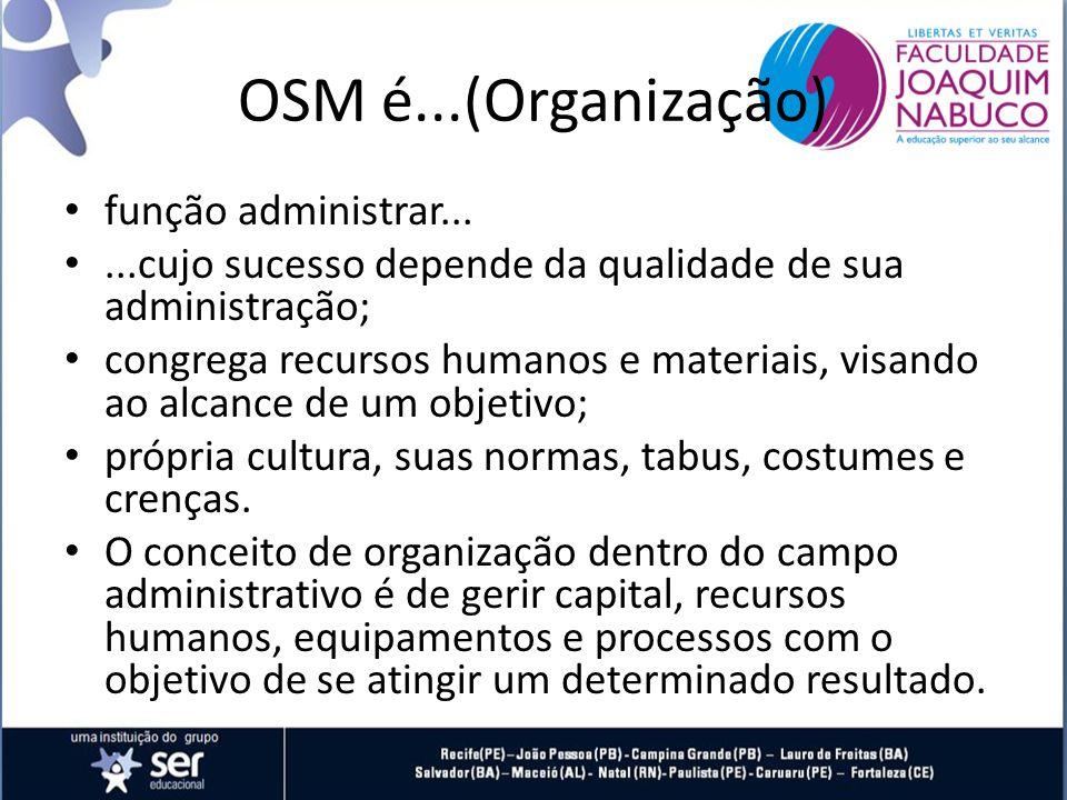 OSM é...(Organização) função administrar......cujo sucesso depende da qualidade de sua administração; congrega recursos humanos e materiais, visando ao alcance de um objetivo; própria cultura, suas normas, tabus, costumes e crenças.