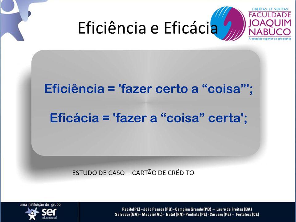 Eficiência e Eficácia ESTUDO DE CASO – CARTÃO DE CRÉDITO
