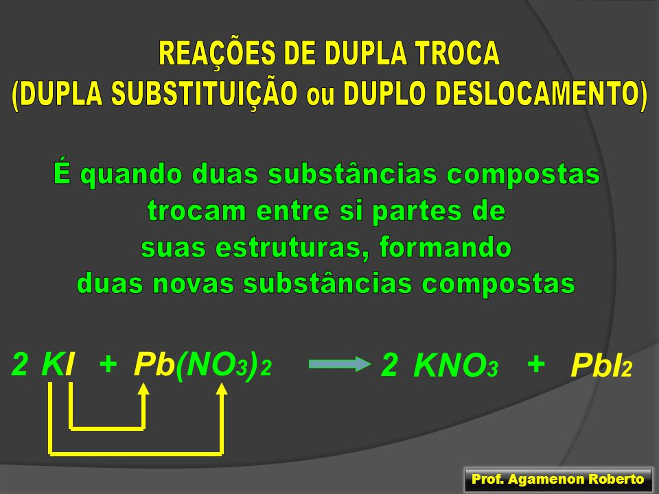 Pb(NO 3 ) 2 KIKI+ KNO 3 2+ PbI 2 2 Prof. Agamenon Roberto