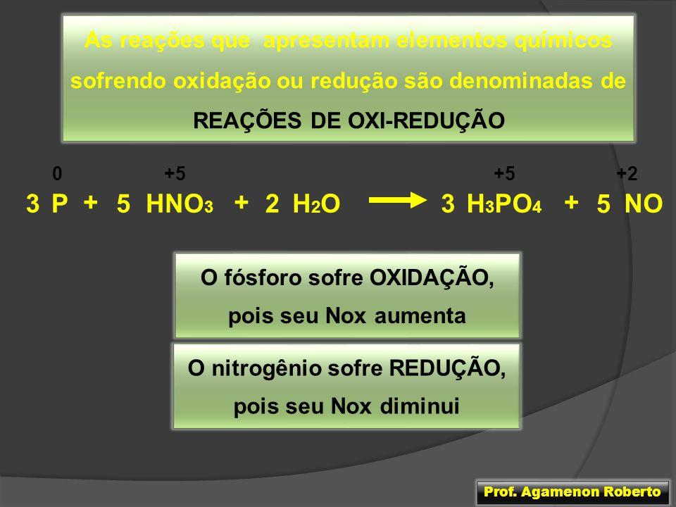 As reações que apresentam elementos químicos sofrendo oxidação ou redução são denominadas de REAÇÕES DE OXI-REDUÇÃO PH2OH2O3H 3 PO 4 + 352HNO 3 + NO 5