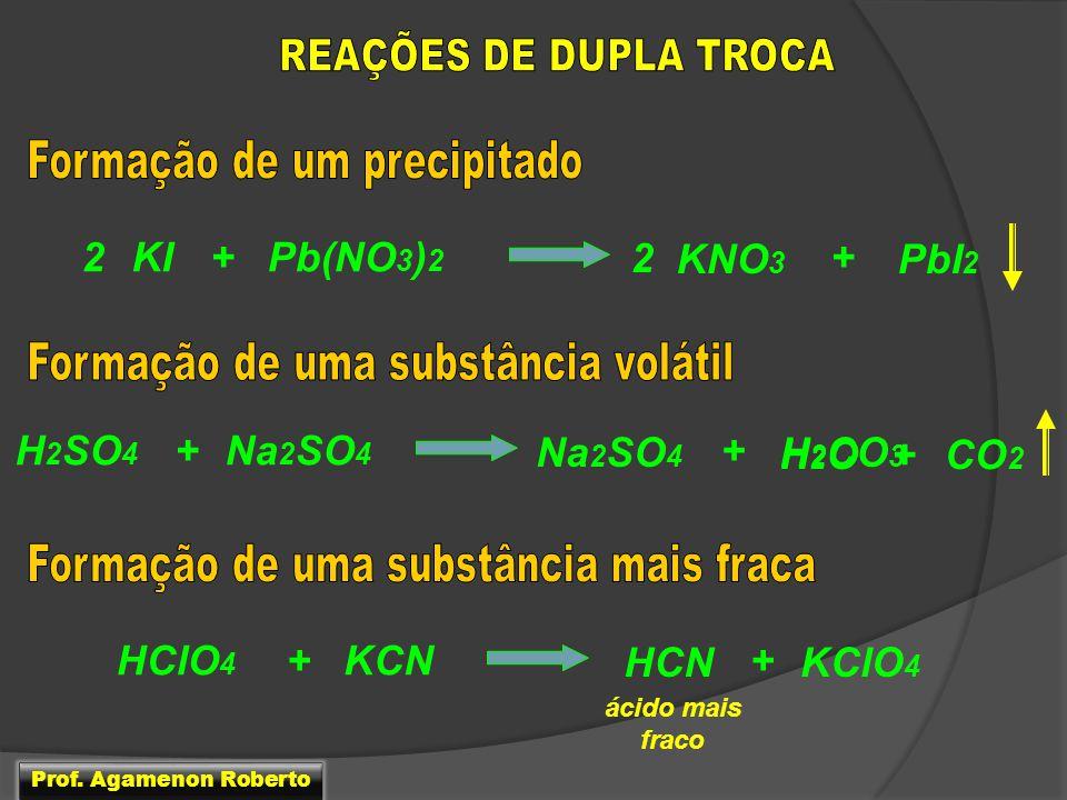 Pb(NO 3 ) 2 KI+ KNO 3 2+ PbI 2 2 Na 2 SO 4 H 2 SO 4 + H 2 CO 3 + Na 2 SO 4 CO 2 H2OH2O+ KCNHClO 4 + HCN + KClO 4 ácido mais fraco Prof. Agamenon Rober