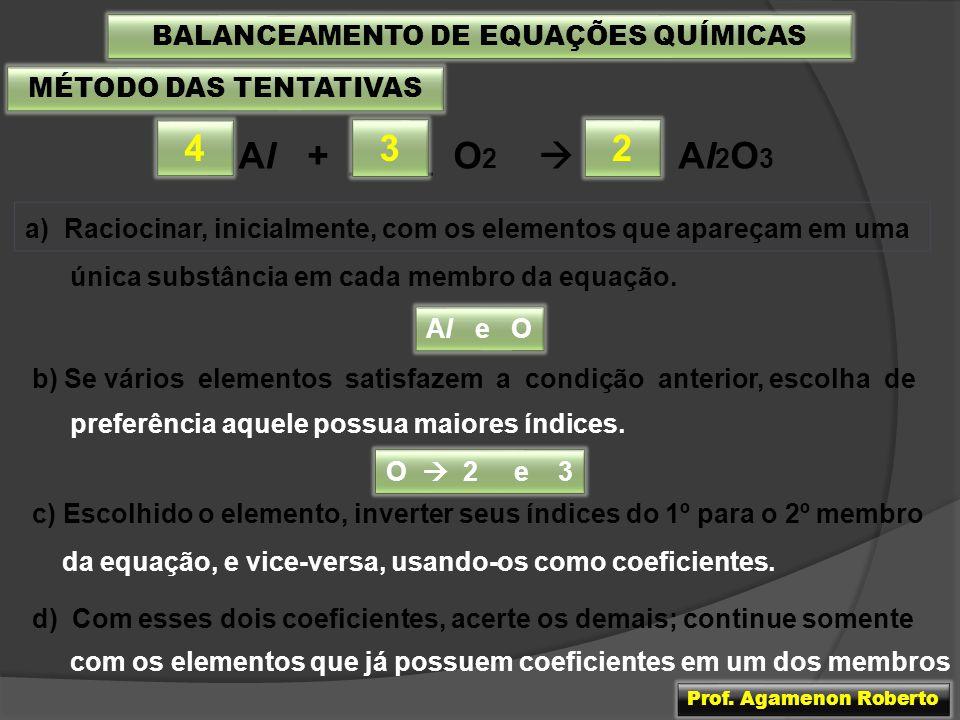 MÉTODO DAS TENTATIVAS ___ Al + ____ O 2 ___ Al 2 O 3 3 BALANCEAMENTO DE EQUAÇÕES QUÍMICAS a) Raciocinar, inicialmente, com os elementos que apareçam e