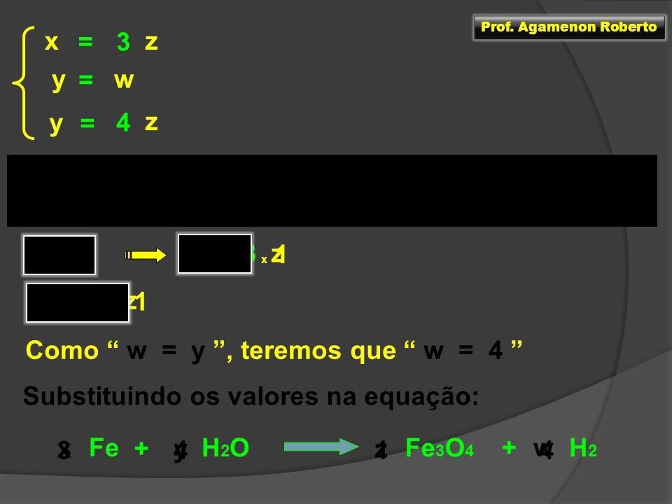 Para resolver o sistema escolhemos uma variável e atribuímos a ela um valor qualquer zx =3 z y = wy = 4 zx = 3 z = 1 x 1 x = 3 z y = 4 x 1 y = 4 Como
