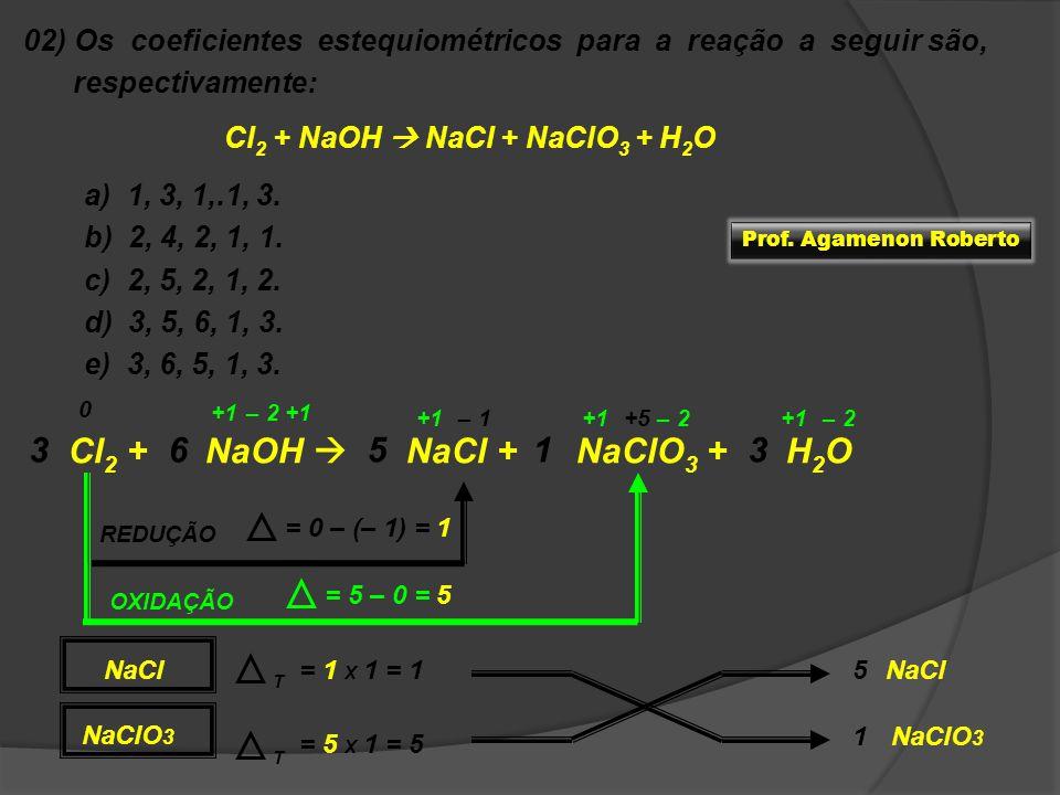 02) Os coeficientes estequiométricos para a reação a seguir são, respectivamente: Cl 2 + NaOH NaCl + NaClO 3 + H 2 O a) 1, 3, 1,.1, 3. b) 2, 4, 2, 1,