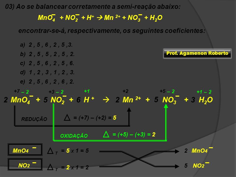 03) Ao se balancear corretamente a semi-reação abaixo: MnO 4 + NO 2 + H + Mn 2+ + NO 3 + H 2 O encontrar-se-á, respectivamente, os seguintes coeficien