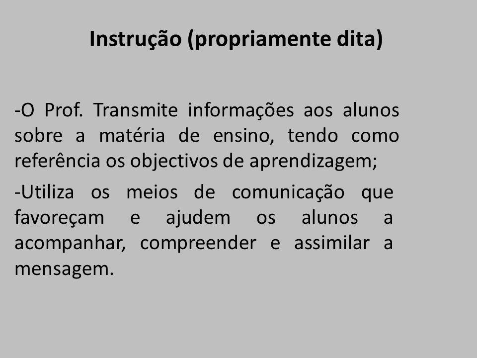 -O Prof. Transmite informações aos alunos sobre a matéria de ensino, tendo como referência os objectivos de aprendizagem; -Utiliza os meios de comunic