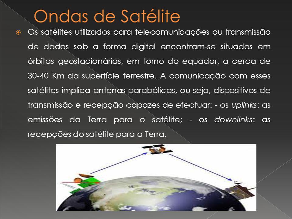Os satélites utilizados para telecomunicações ou transmissão de dados sob a forma digital encontram-se situados em órbitas geostacionárias, em torno d