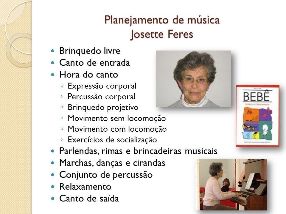 Planejamento de música Josette Feres Brinquedo livre Canto de entrada Hora do canto Expressão corporal Percussão corporal Brinquedo projetivo Moviment