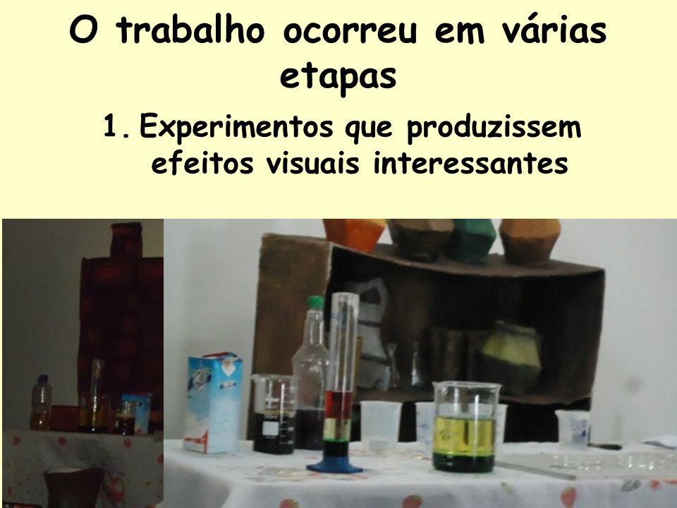 O trabalho ocorreu em várias etapas 1.Experimentos que produzissem efeitos visuais interessantes