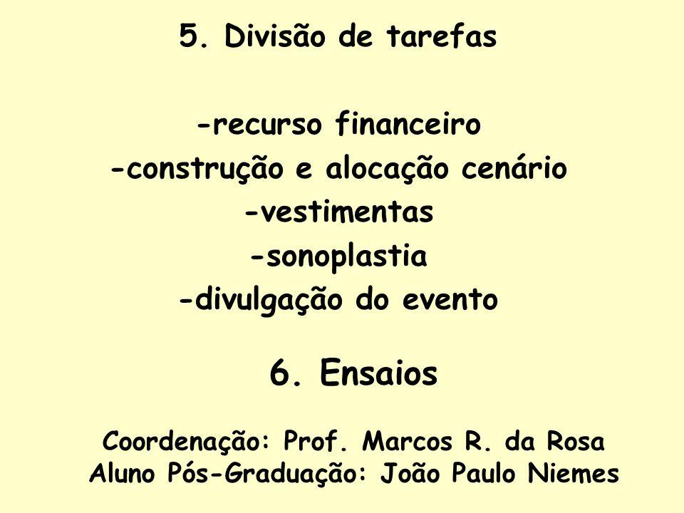 5. Divisão de tarefas -recurso financeiro -construção e alocação cenário -vestimentas -sonoplastia -divulgação do evento 6. Ensaios Coordenação: Prof.