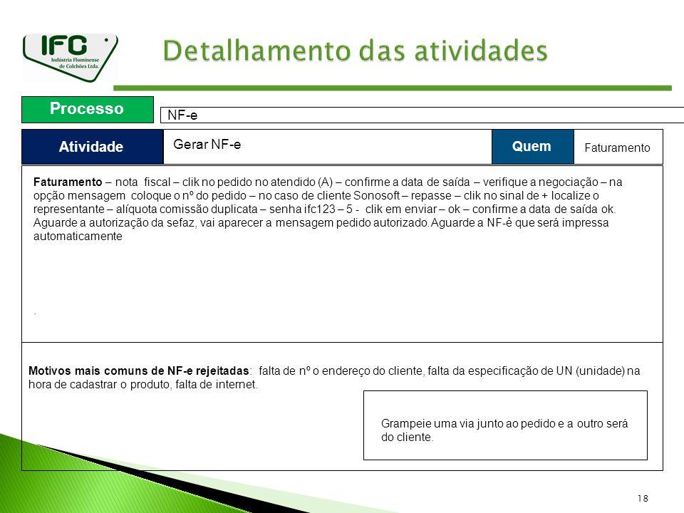 18 Atividade Processo NF-e Quem Gerar NF-e Faturamento.. Faturamento – nota fiscal – clik no pedido no atendido (A) – confirme a data de saída – verif