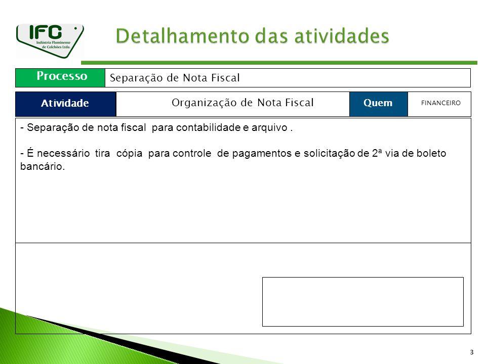 33 Atividade Processo Separação de Nota Fiscal Quem Organização de Nota Fiscal FINANCEIRO - Separação de nota fiscal para contabilidade e arquivo.