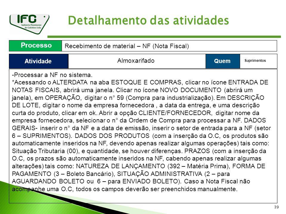 39 Detalhamento das atividades Atividade Processo Recebimento de material – NF (Nota Fiscal) Quem Almoxarifado Suprimentos -Processar a NF no sistema.