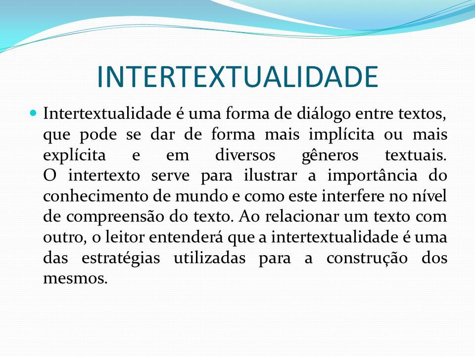 INTERTEXTUALIDADE Intertextualidade é uma forma de diálogo entre textos, que pode se dar de forma mais implícita ou mais explícita e em diversos gêner