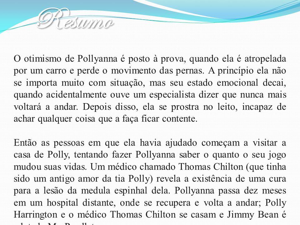 O otimismo de Pollyanna é posto à prova, quando ela é atropelada por um carro e perde o movimento das pernas. A princípio ela não se importa muito com