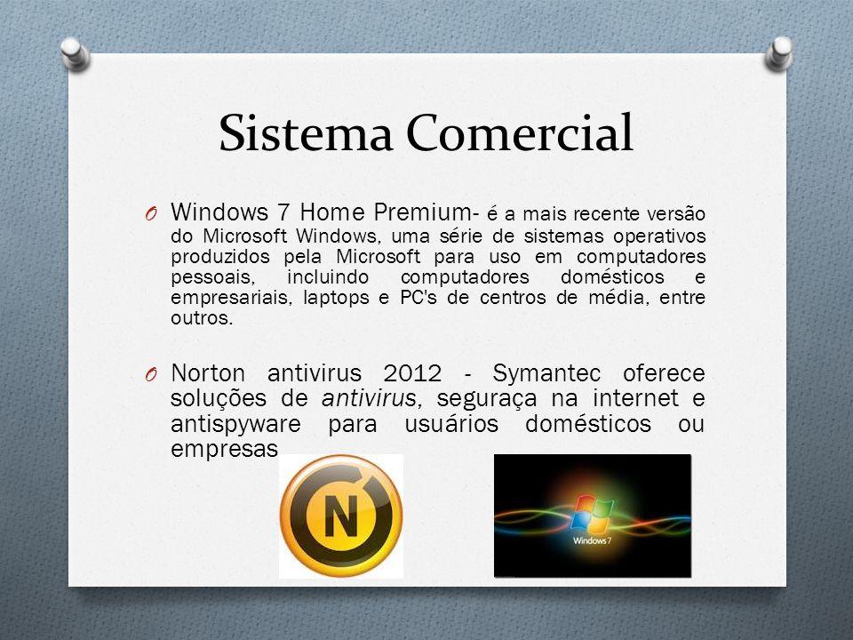 Sistema Comercial O Windows 7 Home Premium- é a mais recente versão do Microsoft Windows, uma série de sistemas operativos produzidos pela Microsoft p