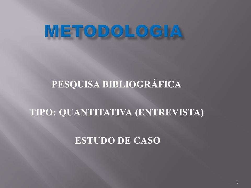 PESQUISA BIBLIOGRÁFICA TIPO: QUANTITATIVA (ENTREVISTA) ESTUDO DE CASO 3