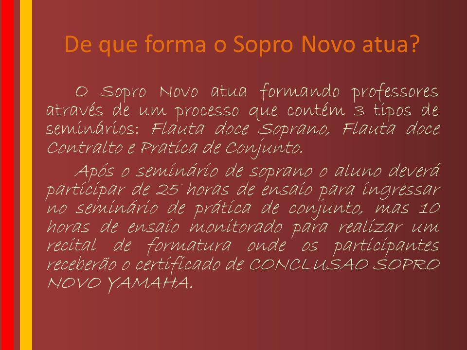 De que forma o Sopro Novo atua? O Sopro Novo atua formando professores através de um processo que contém 3 tipos de seminários: Flauta doce Soprano, F