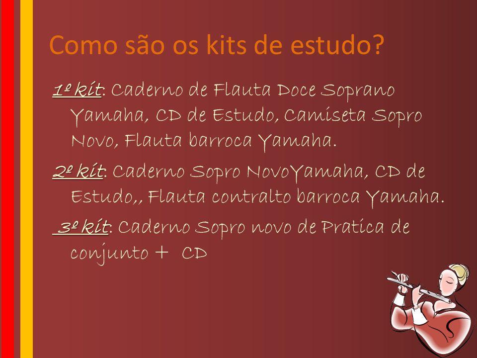 Como são os kits de estudo? 1º kit 1º kit: Caderno de Flauta Doce Soprano Yamaha, CD de Estudo, Camiseta Sopro Novo, Flauta barroca Yamaha. 2º kit 2º
