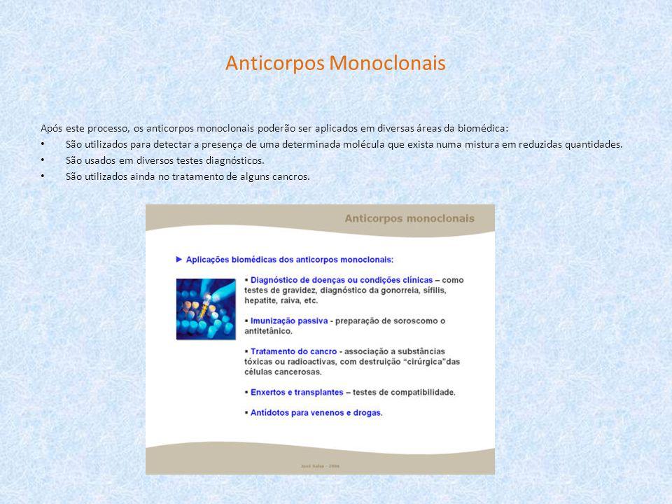 Anticorpos Monoclonais Após este processo, os anticorpos monoclonais poderão ser aplicados em diversas áreas da biomédica: São utilizados para detecta