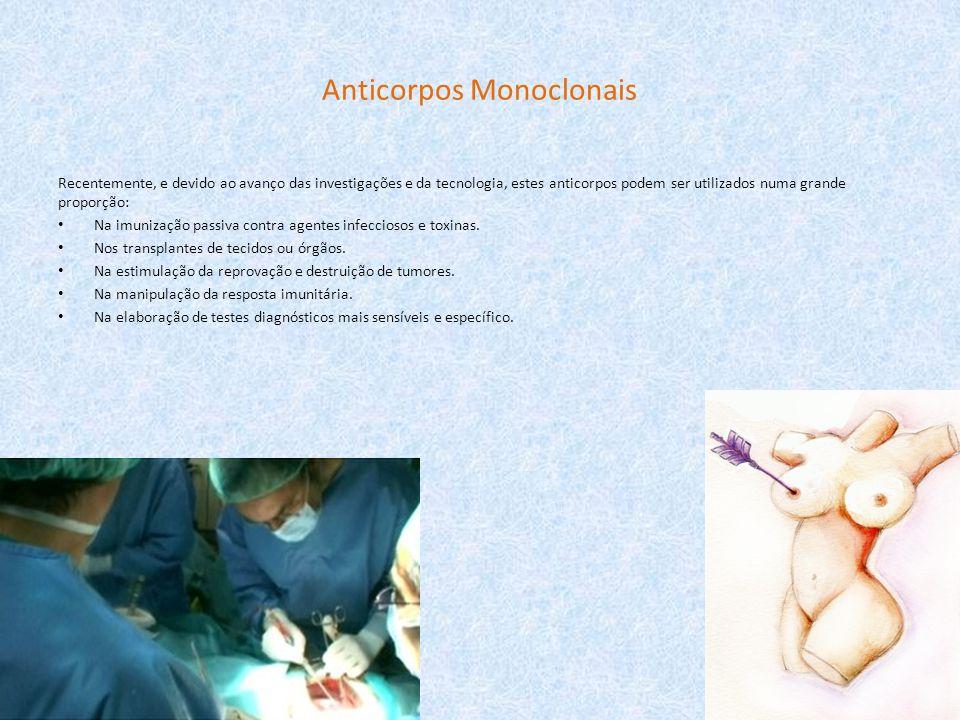 Anticorpos Monoclonais Recentemente, e devido ao avanço das investigações e da tecnologia, estes anticorpos podem ser utilizados numa grande proporção