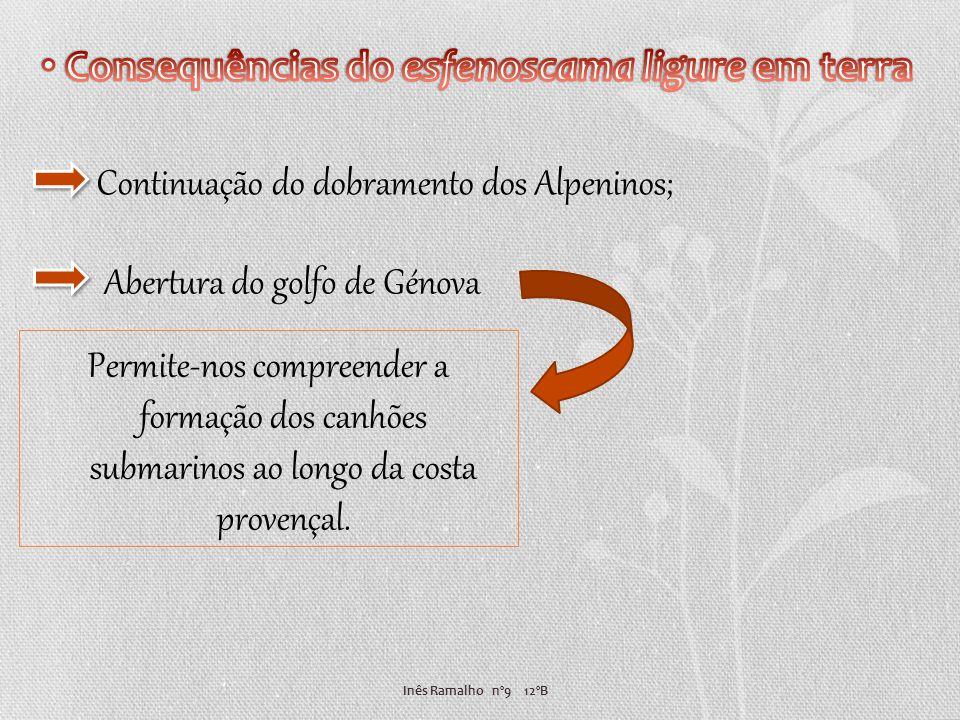 Inês Ramalho nº9 12ºB Abertura do golfo de Génova Continuação do dobramento dos Alpeninos; Permite-nos compreender a formação dos canhões submarinos a